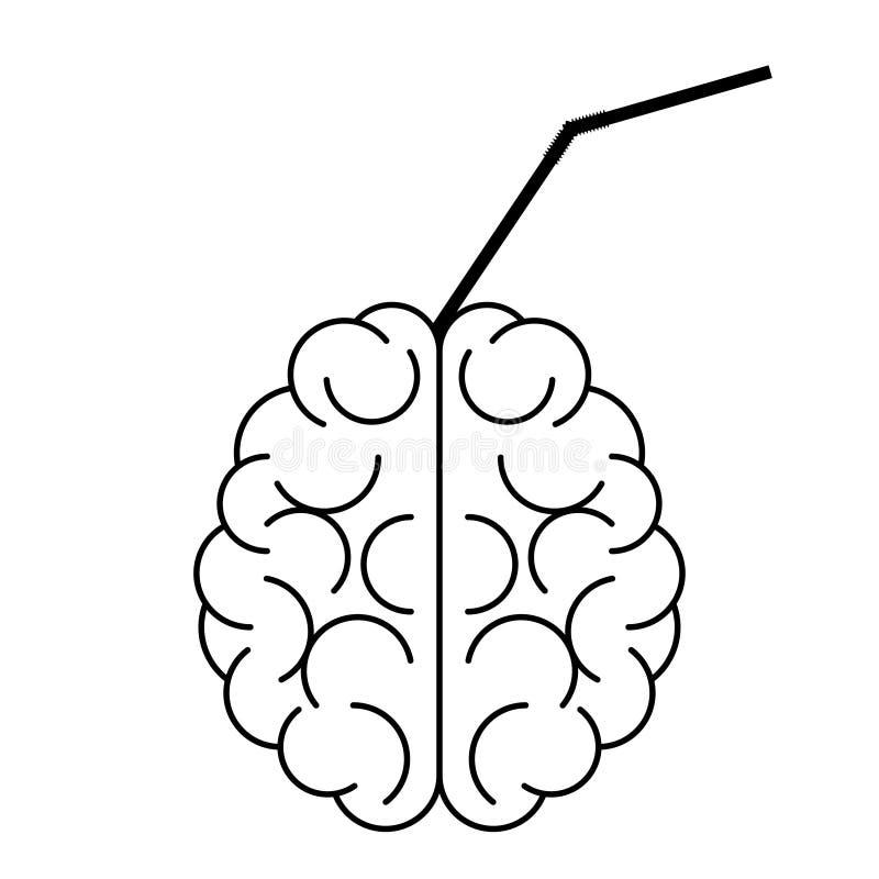 Icono del cerebro con el tubo del cóctel en él ilustración del vector