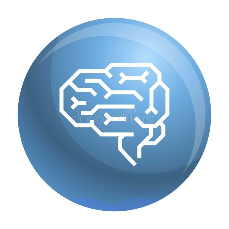 Icono del cerebro de la máquina, estilo del esquema stock de ilustración