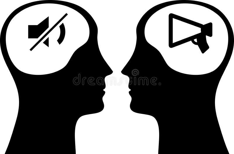 Icono del cerebro en una cabeza negra en el fondo blanco libre illustration