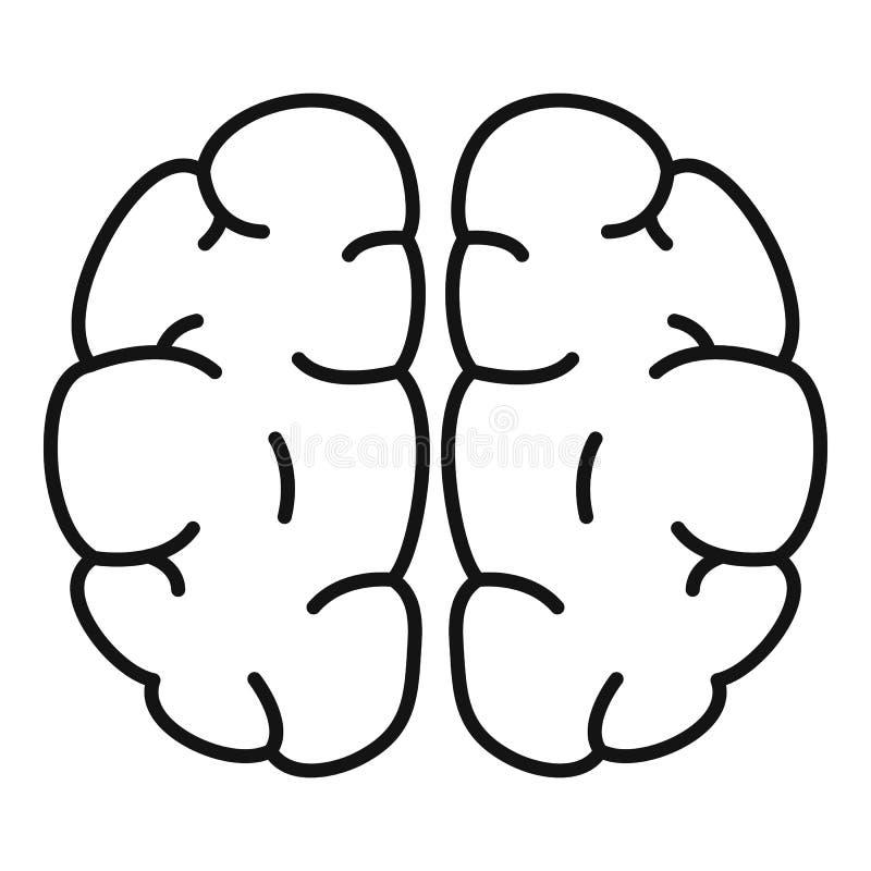 Icono del cerebro humano, estilo del esquema stock de ilustración