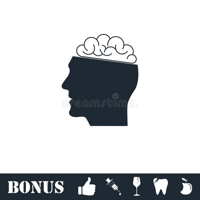 Icono del cerebro humano plano stock de ilustración