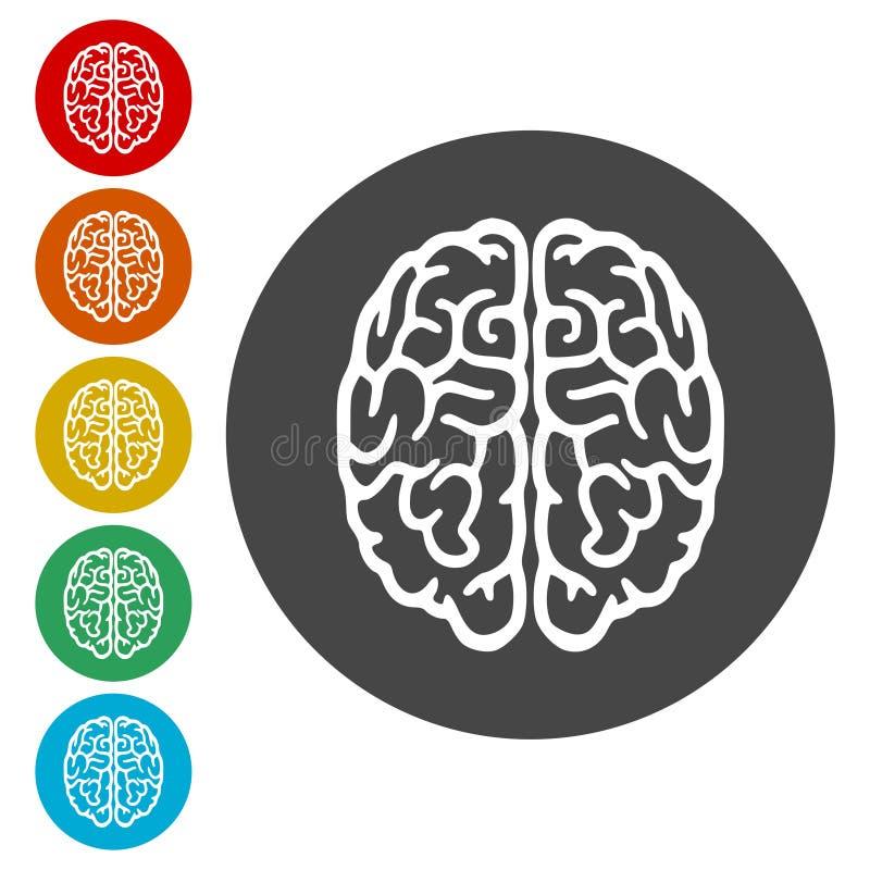 Icono del cerebro, silueta de Brain Logo stock de ilustración