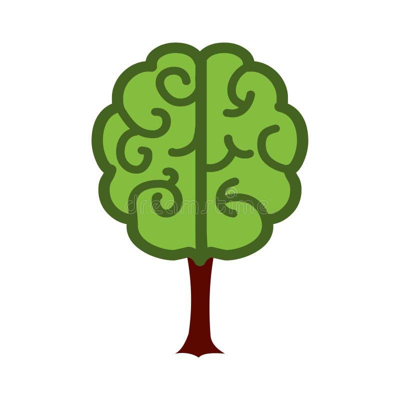 Icono del cerebro y del árbol stock de ilustración