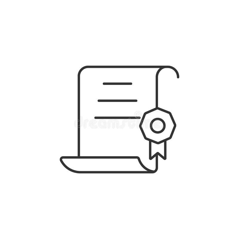 Icono del certificado Ejemplo simple del elemento Plantilla del diseño del símbolo del certificado Puede ser utilizado para el we ilustración del vector