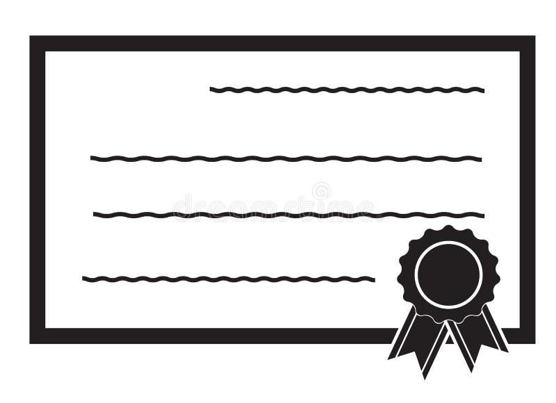 Icono del certificado en el fondo blanco Estilo plano Icono para su diseño del sitio web, logotipo, app, UI del logro símbolo del libre illustration