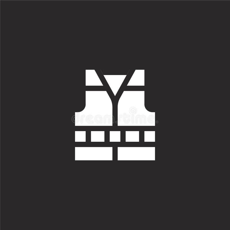 Icono del chaleco de vida Icono llenado del chaleco de vida para el diseño y el móvil, desarrollo de la página web del app icono  ilustración del vector