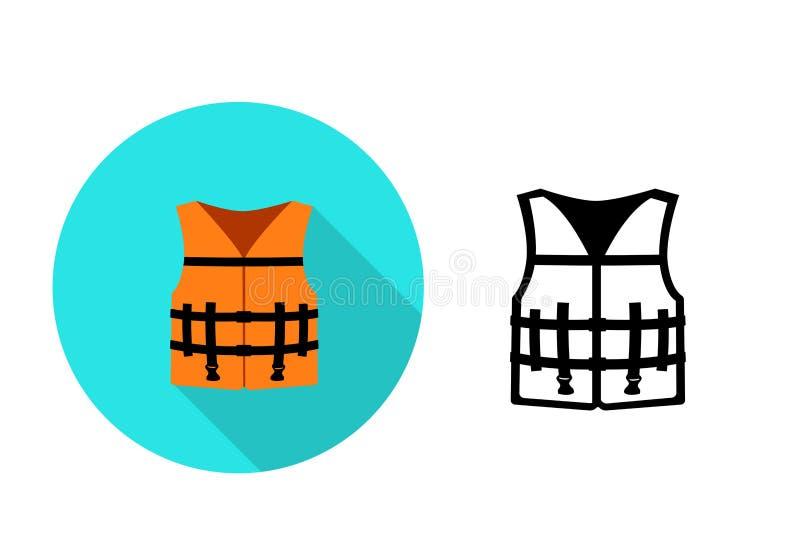 Icono del chaleco salvavidas en el estilo plano, arte del vector libre illustration