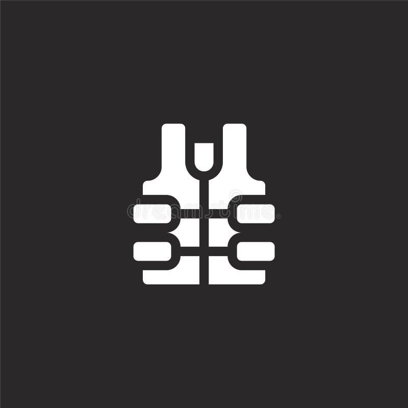 Icono del chaleco salvavidas Icono llenado del chaleco salvavidas para el diseño y el móvil, desarrollo de la página web del app  ilustración del vector
