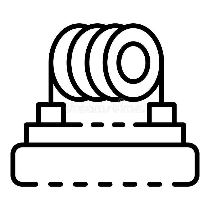Icono del cigarrillo del serpentín de calentamiento, estilo del esquema stock de ilustración