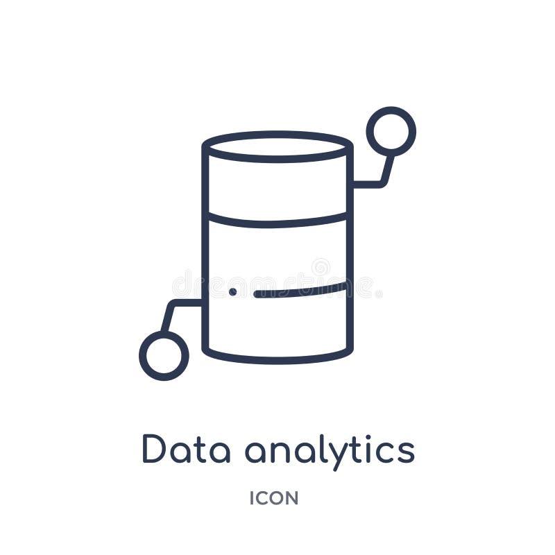 icono del cilindro del analytics de los datos de la colección del esquema de la interfaz de usuario Línea fina icono del cilindro ilustración del vector