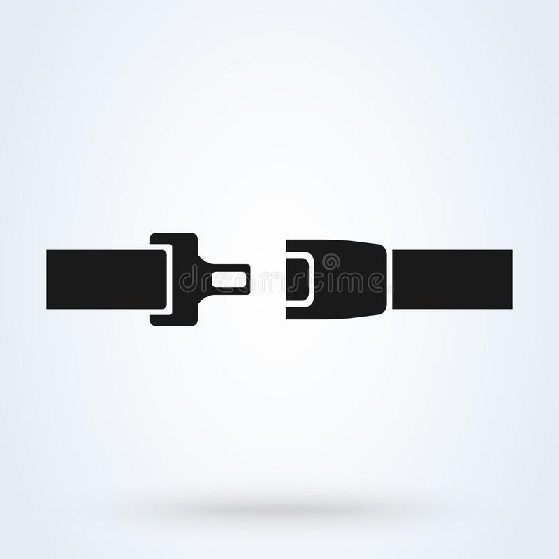 Icono del cinturón de seguridad aislado en el fondo blanco Seguridad del movimiento en el coche, aeroplano Ilustración del vector ilustración del vector