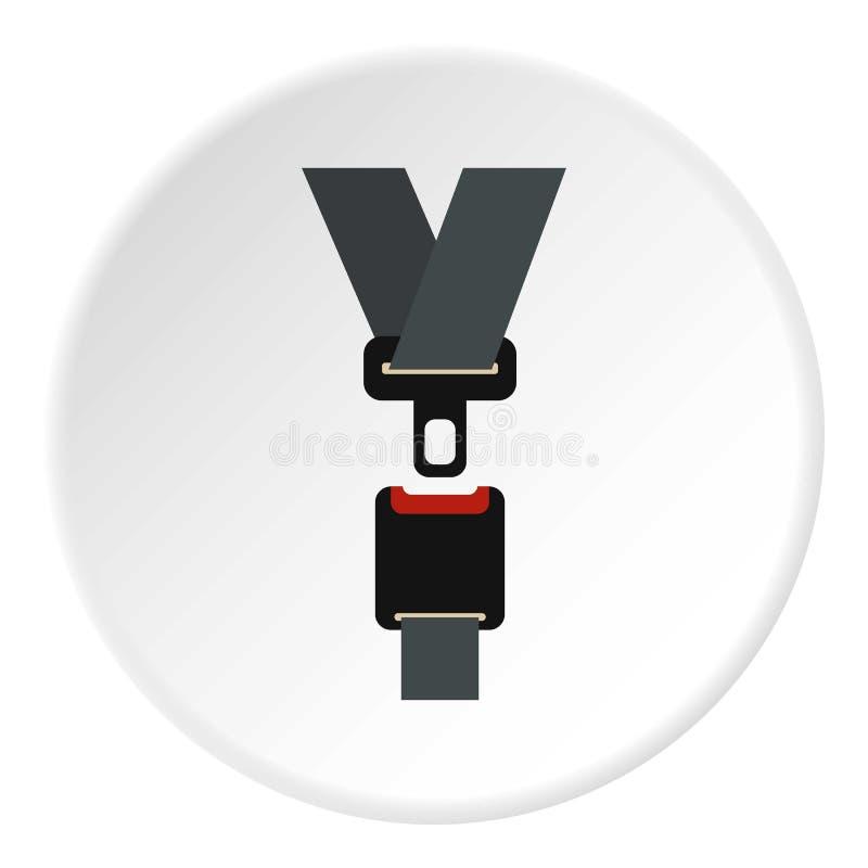 Icono del cinturón de seguridad, estilo plano stock de ilustración