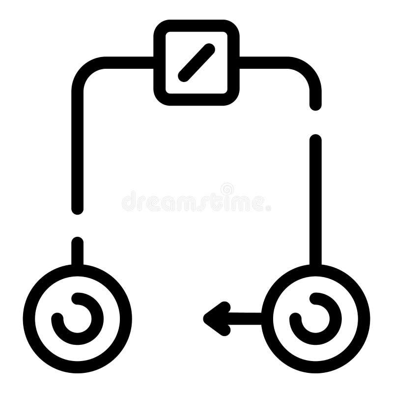 Icono del circuito eléctrico, estilo del esquema ilustración del vector
