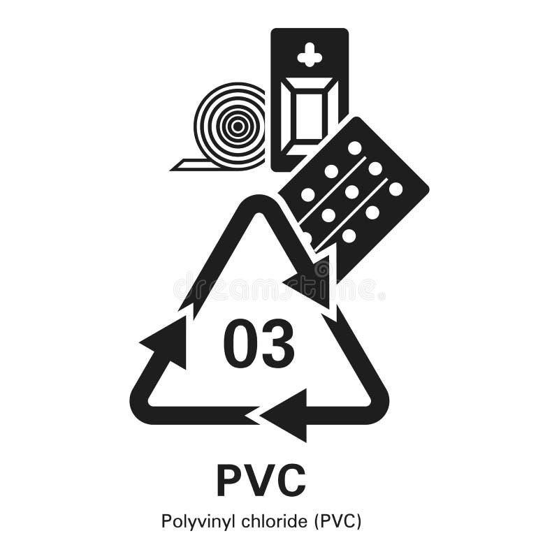 Icono del cloruro de polivinilo, estilo simple stock de ilustración