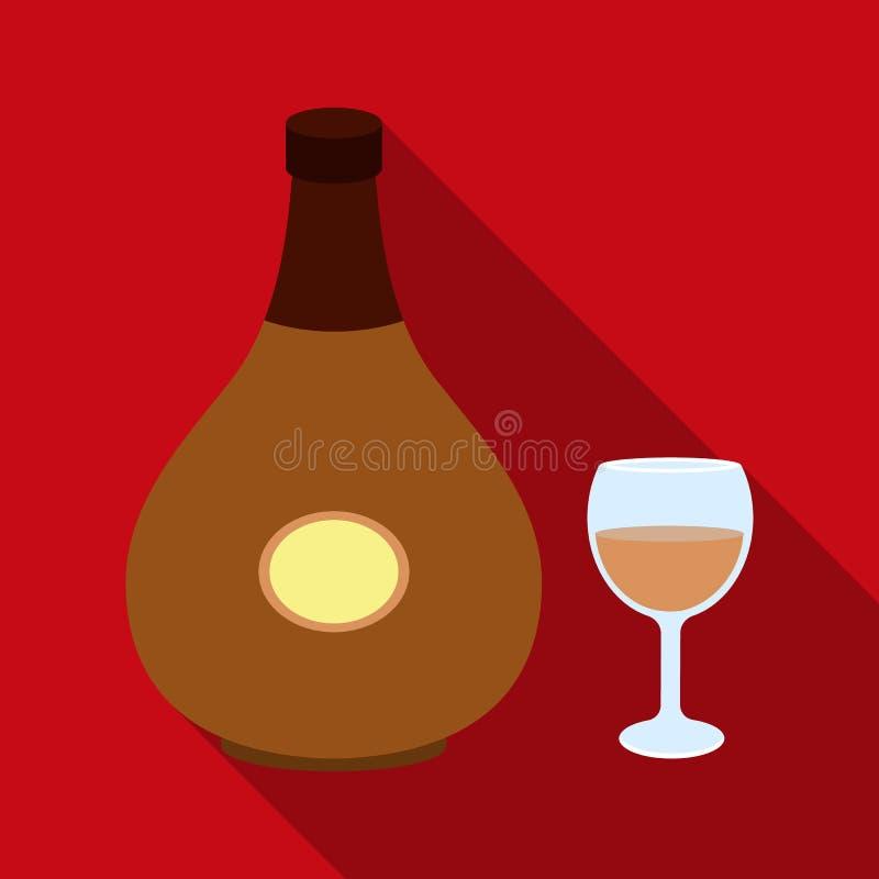 Icono del coñac en estilo plano aislado en el fondo blanco Ejemplo del vector de la acción del símbolo del alcohol ilustración del vector