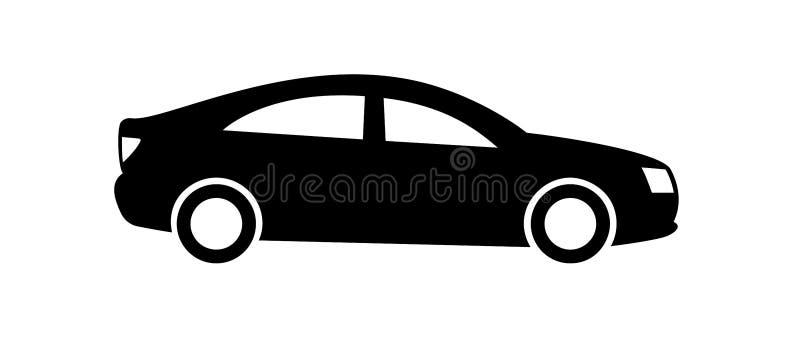 Icono del coche aislado en el fondo blanco Vista lateral Elemento, pictograma, y ejemplo del diseño del vector Coche negro stock de ilustración