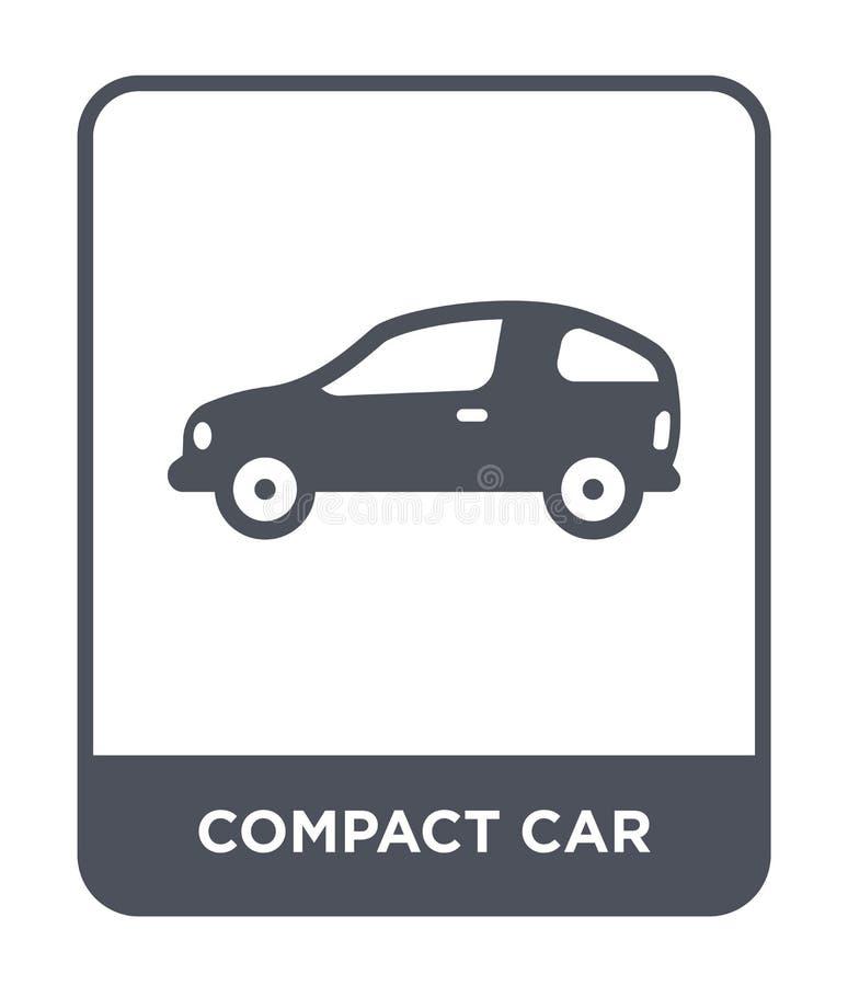 icono del coche compacto en estilo de moda del diseño icono del coche compacto aislado en el fondo blanco icono del vector del co stock de ilustración