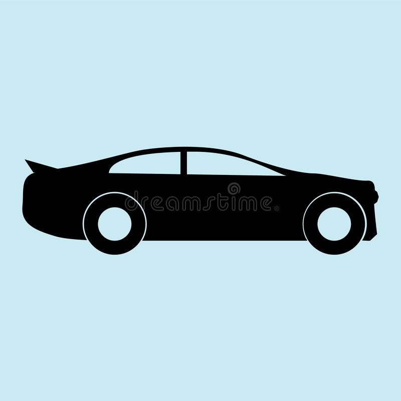 Icono del coche con negro azul del fondo aislado, fresco stock de ilustración
