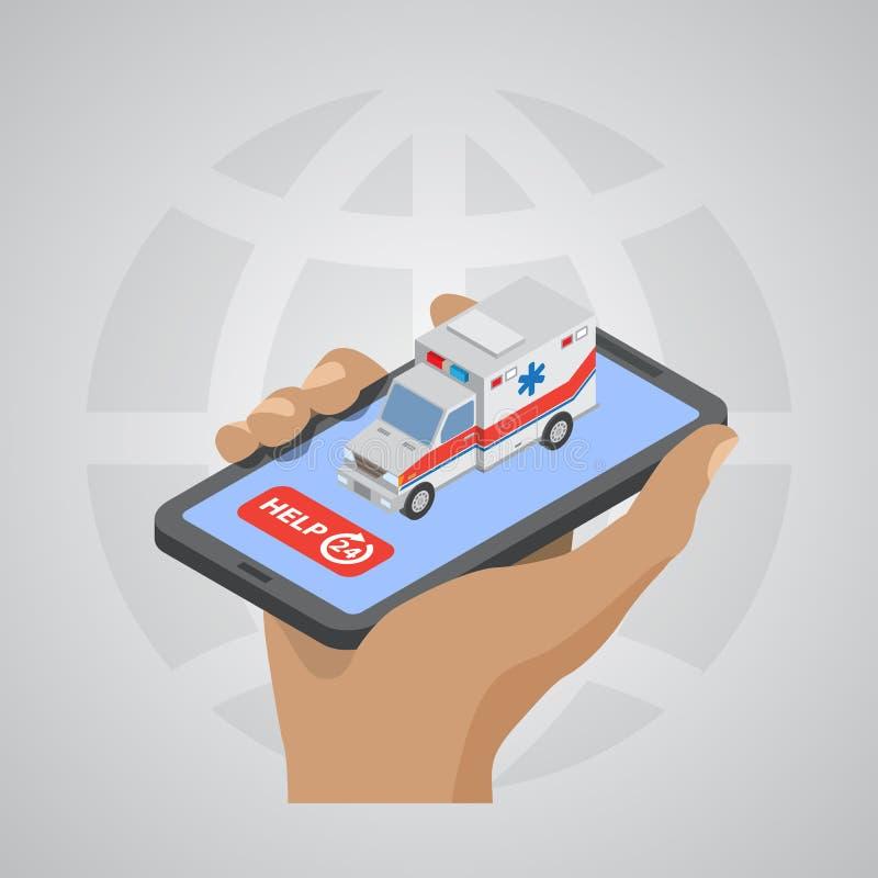 Icono del coche de la ambulancia en el diseño plano de la mano libre illustration