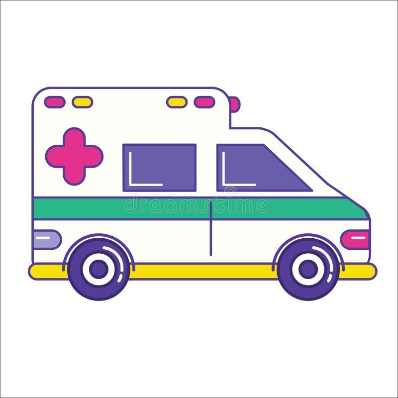 Icono del coche de la ambulancia en la línea estilo plana de moda Servicio de emergencia stock de ilustración