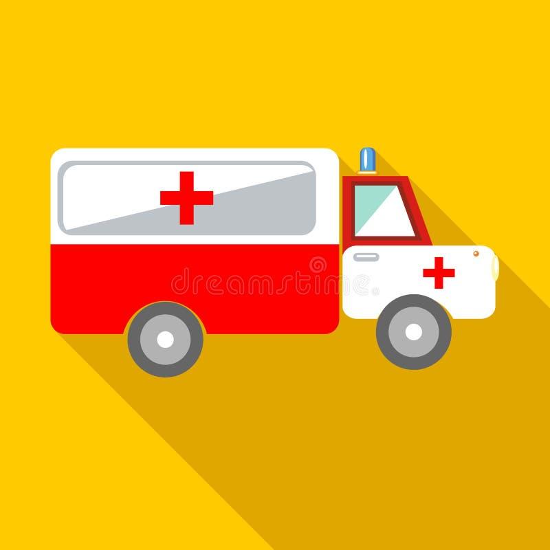 Icono del coche de la ambulancia, estilo plano ilustración del vector