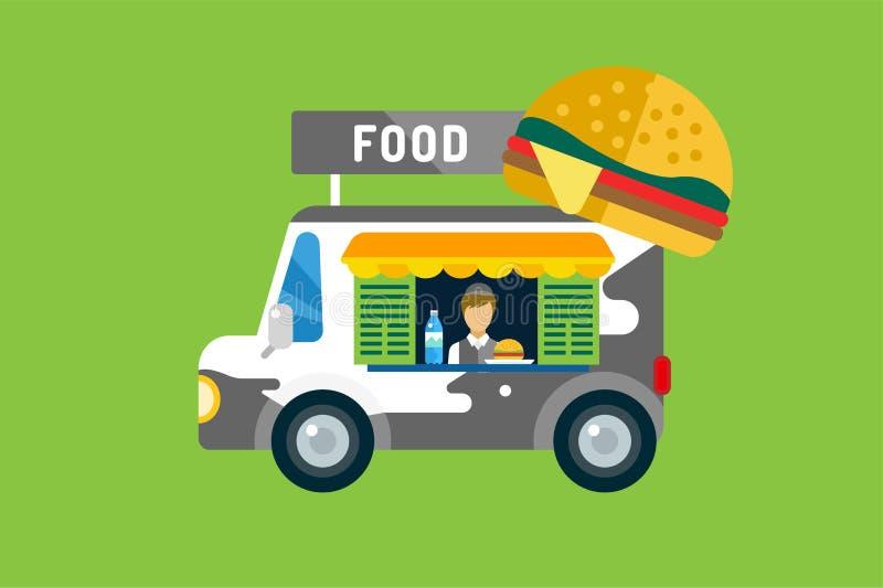Icono del coche de los alimentos de preparación rápida Producto asado a la parrilla carne, perritos calientes libre illustration