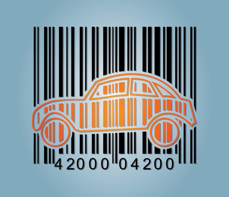 Icono del coche del código de barras y del extracto stock de ilustración