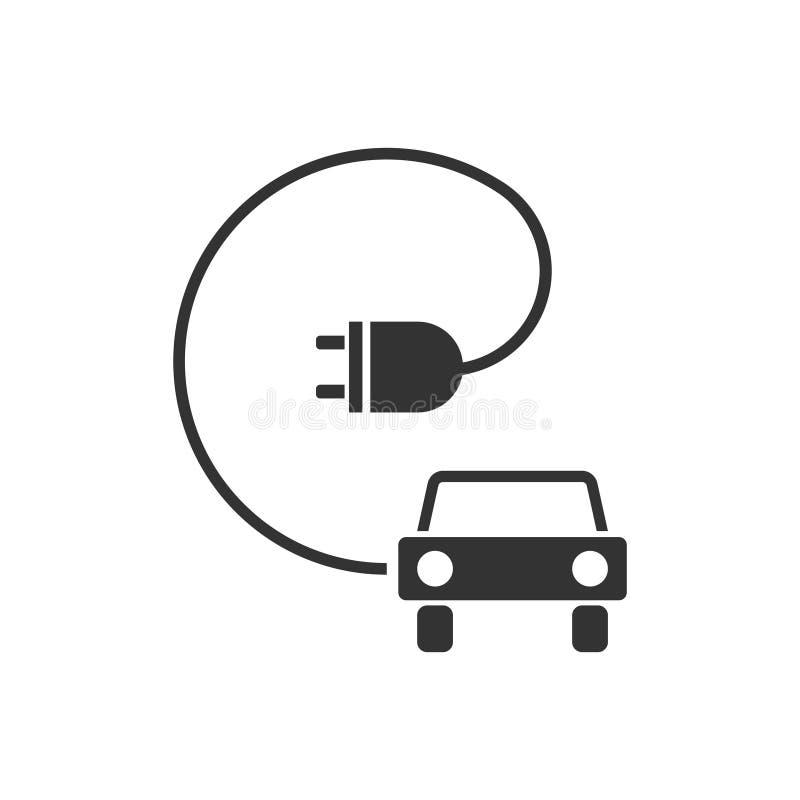 Icono del coche eléctrico plano stock de ilustración