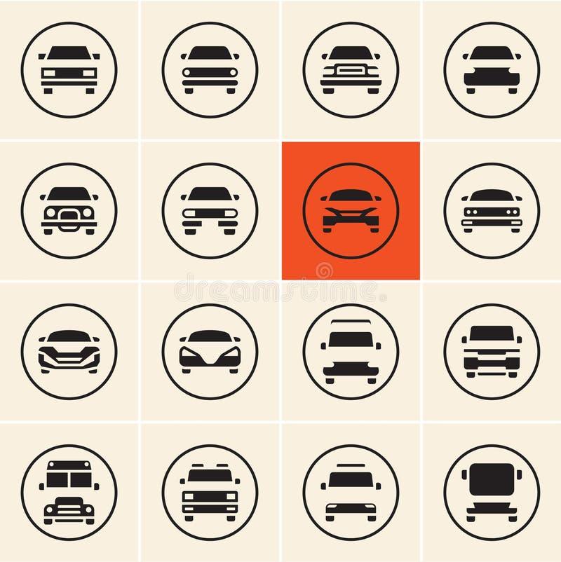 Icono del coche Iconos delanteros de los coches ilustración del vector