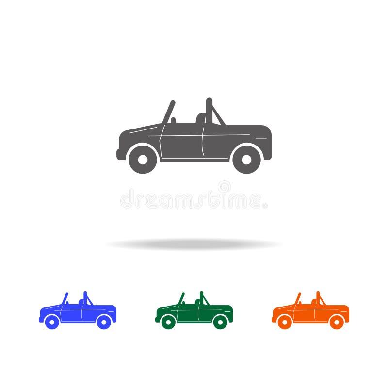 Icono del coche del sedán Tipos de elementos de los coches en los iconos coloreados multi para los apps móviles del concepto y de stock de ilustración
