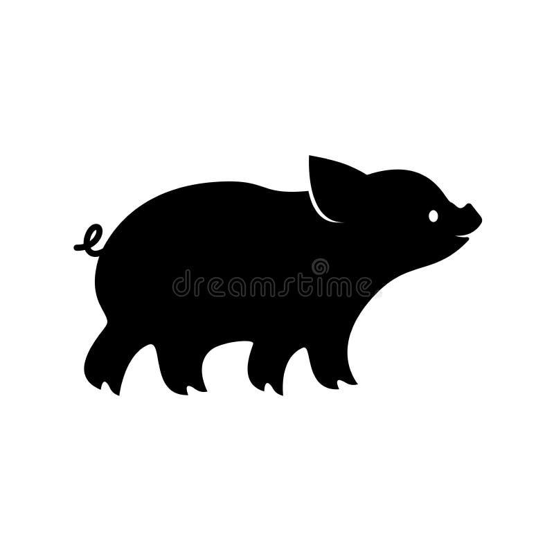 Icono del cochinillo Vector la imagen, silueta del cerdo, aislada en el fondo blanco libre illustration