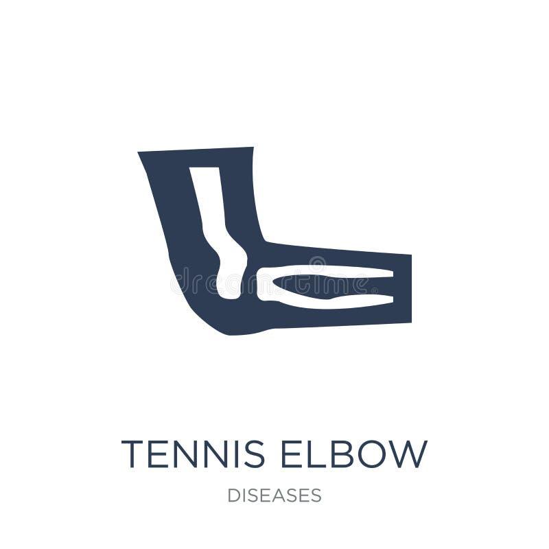 Icono del codo de tenis Icono plano de moda del codo de tenis del vector en blanco stock de ilustración