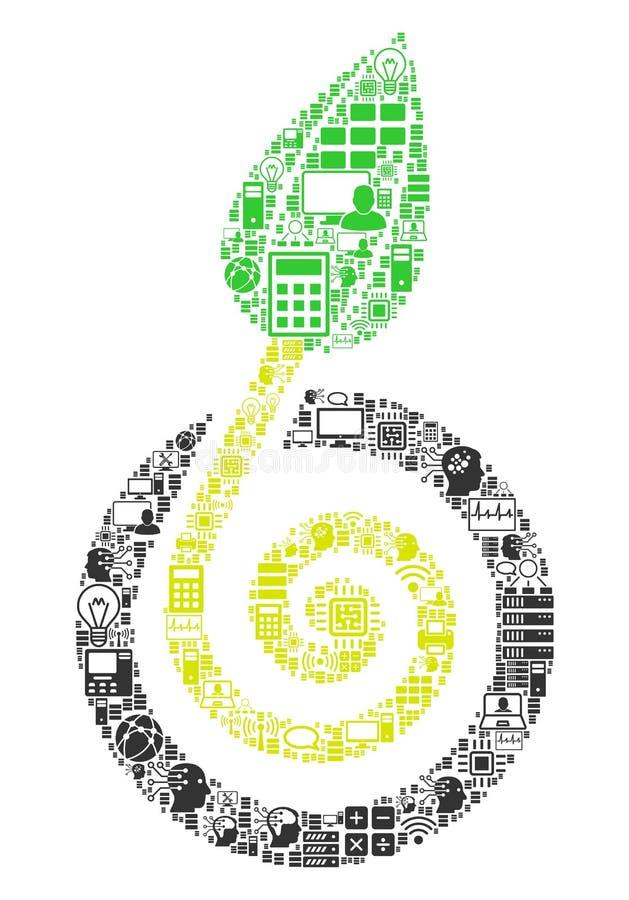 Icono del collage del brote de la semilla para BigData y computar fotografía de archivo libre de regalías