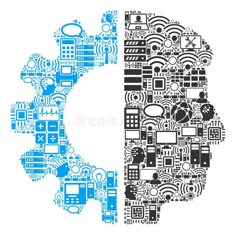 Icono del collage de la cabeza de Android para BigData y computar stock de ilustración