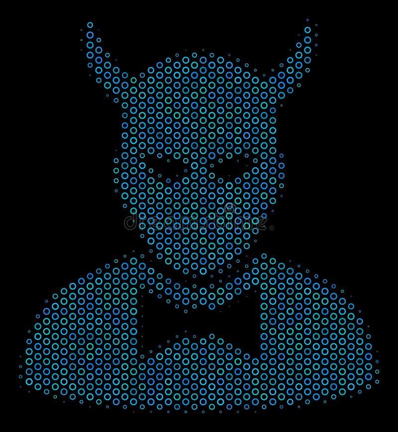 Icono del collage del diablo de las esferas de semitono stock de ilustración