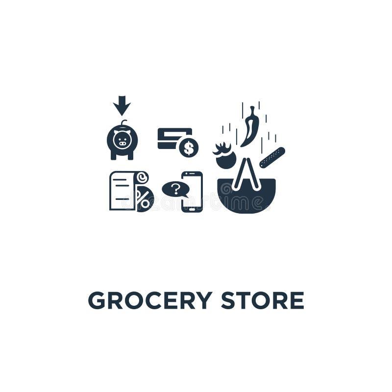 Icono del colmado la cesta y las verduras, notificaciones del mensaje de teléfono, diseño del símbolo del concepto que hace compr stock de ilustración