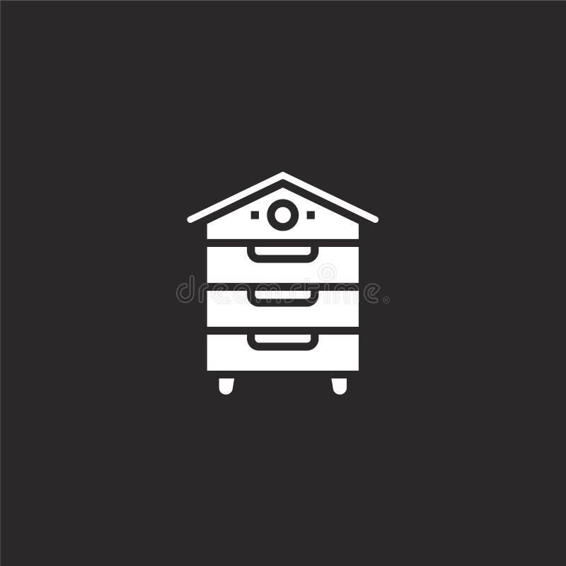icono del colmenar Icono llenado del colmenar para el diseño y el móvil, desarrollo de la página web del app el icono del colmena ilustración del vector