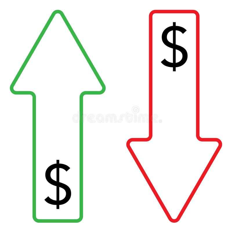 Icono del color cada vez mayor y descendente del dólar stock de ilustración