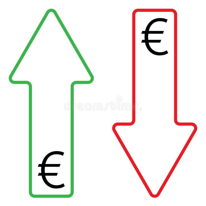 Icono del color cada vez mayor y descendente del euro stock de ilustración