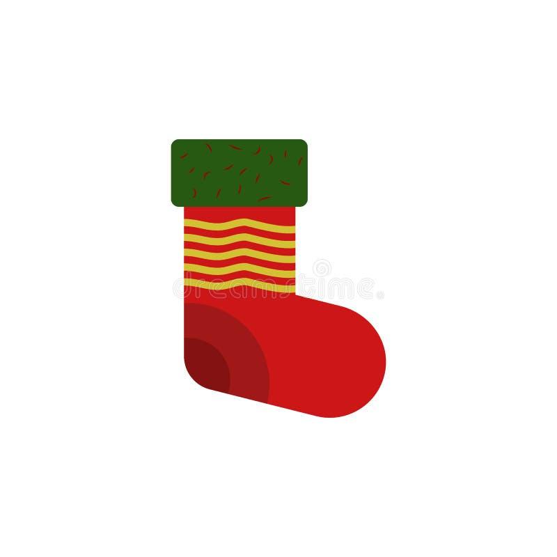 Icono del color del calcetín de la decoración Elemento del ejemplo de la Navidad y del Año Nuevo Icono superior del color del dis ilustración del vector
