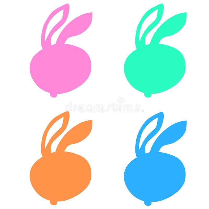 Icono del color del conejo fijado en el fondo blanco de la línea fina colección de los animales, ejemplo editable del vector del  ilustración del vector