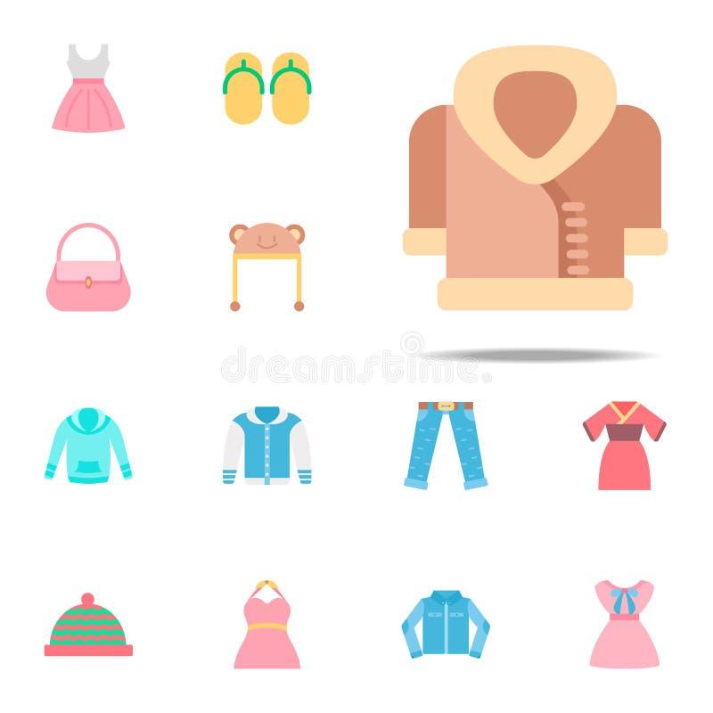 Icono del color de la capa Sistema universal de los iconos de la ropa para el web y el móvil stock de ilustración