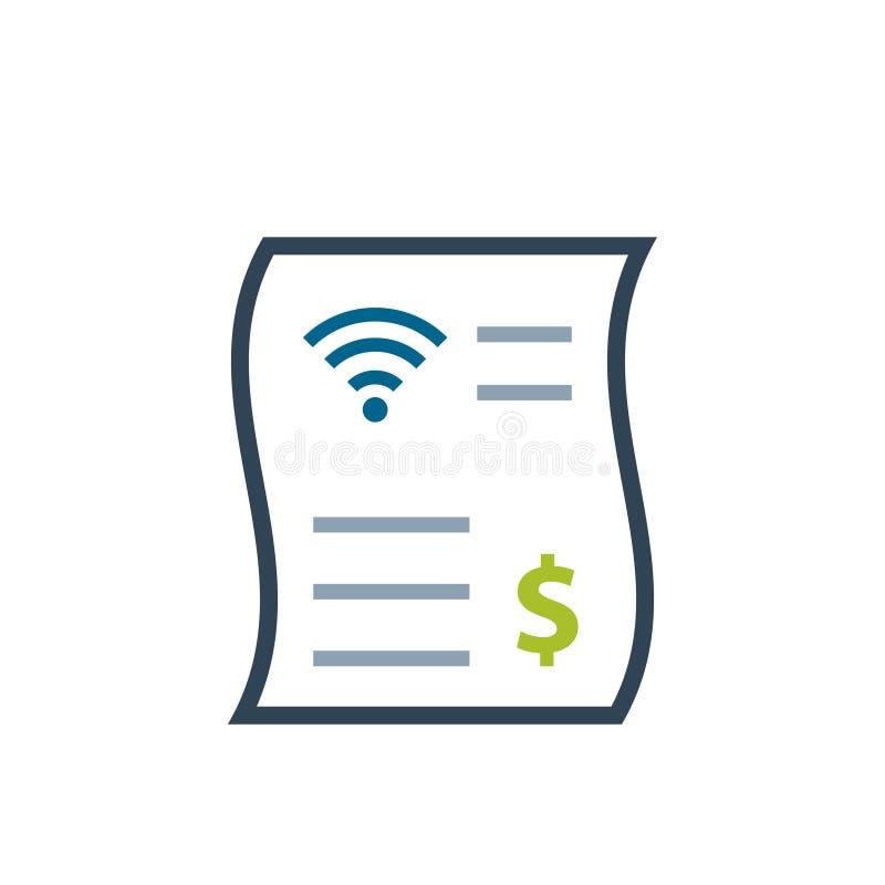 Icono del color de la factura de la cuenta de Internet ilustración del vector
