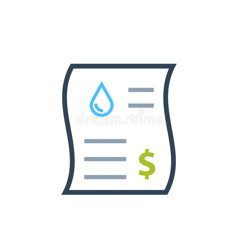 Icono del color de la factura de servicios públicos del agua stock de ilustración
