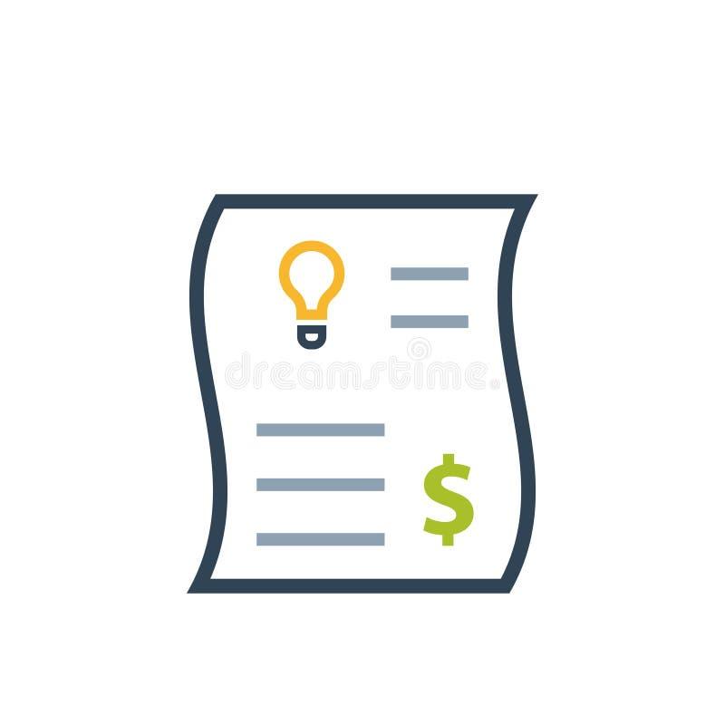 Icono del color de la factura de servicios públicos de la electricidad ilustración del vector