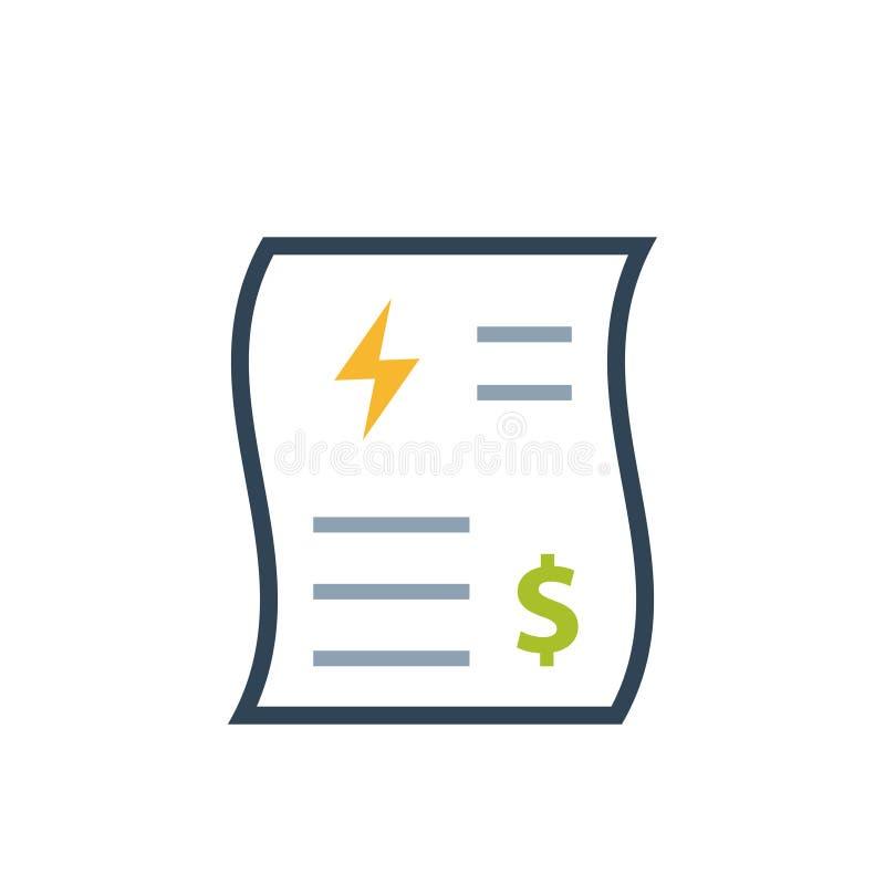Icono del color de la factura de servicios públicos de la energía stock de ilustración
