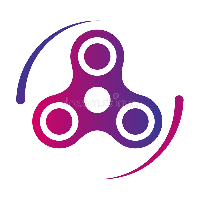 Icono del color de la pendiente del vector del juguete de la persona agitada del hilandero de la mano stock de ilustración