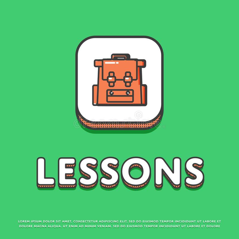 Icono del color de las lecciones con la mochila de la escuela libre illustration