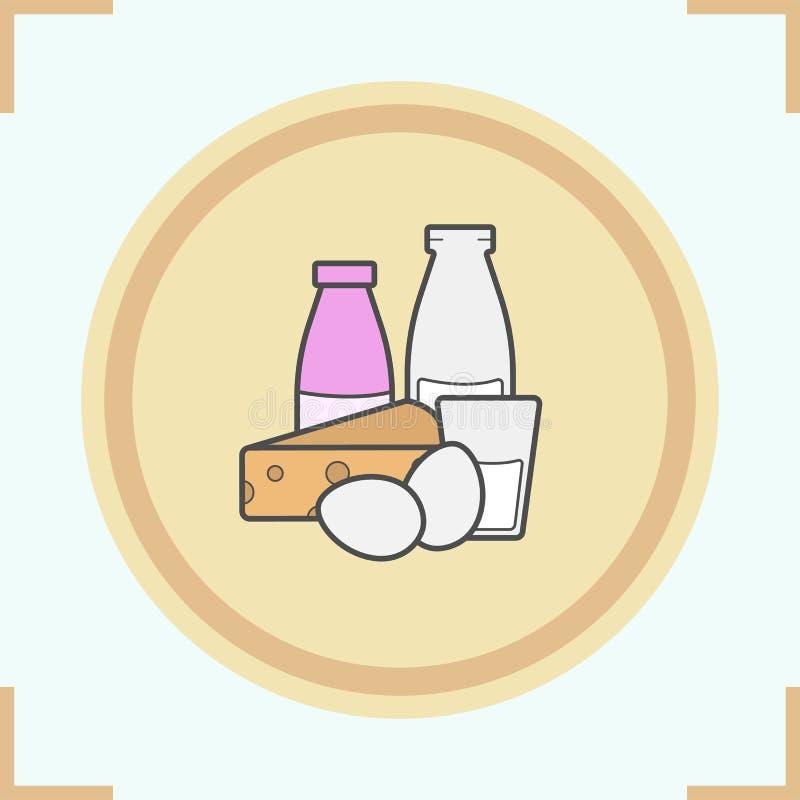 Icono del color de los productos lácteos ilustración del vector