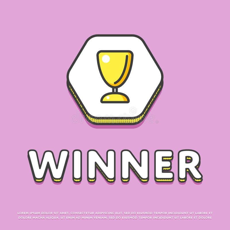 Icono del color del ganador con la taza del trofeo ilustración del vector
